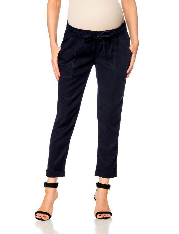 Pull On Style Cotton Woven Straight Leg Maternity Pants, Navy