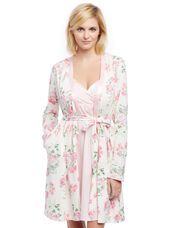 Satin Trim Maternity Nightgown And Robe Set, Chalk Pink Flrl