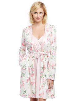 Satin Trim Maternity Nightgown And Robe Set, Chalk Pink Flrl