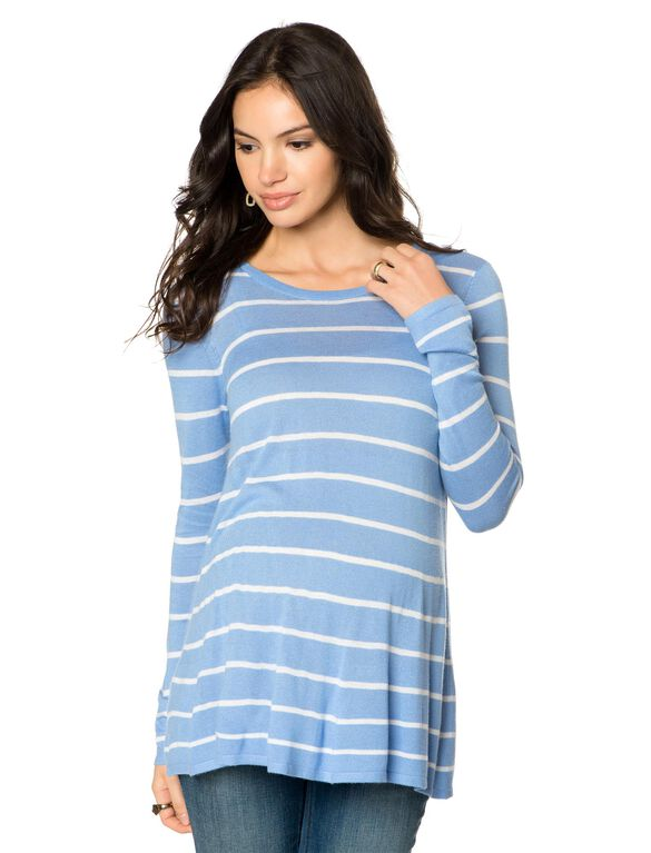 Striped Maternity Sweater, Frech Blue/White