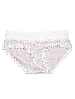 Jessica Simpson Lace Trim Maternity Panty (single), Purple White Dot