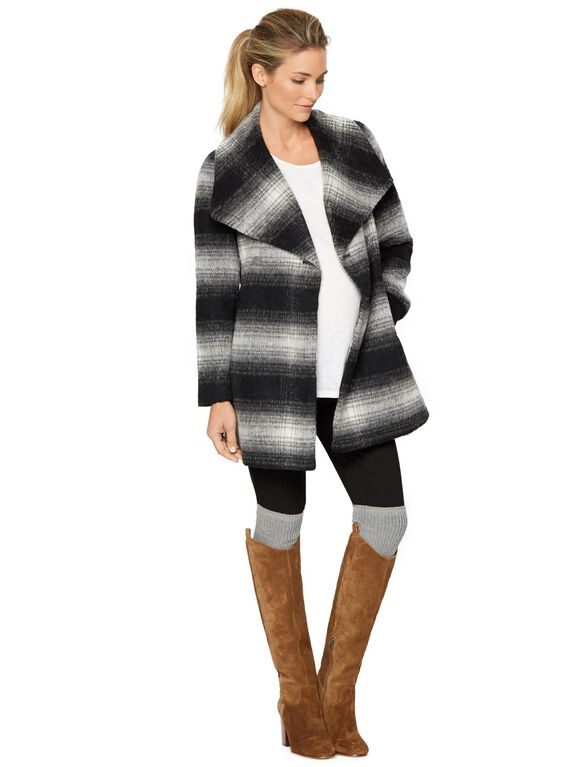 Wrap Wool Maternity Coat, Plaid