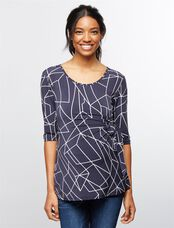 Ripe Side Tie Maternity Top, Navy/White