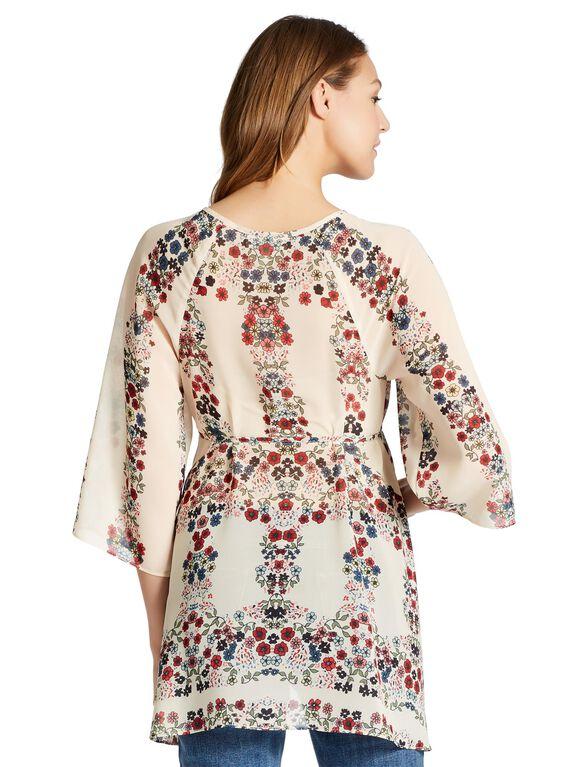 Jessica Simpson Hanky Hem Maternity Blouse, Cream Print