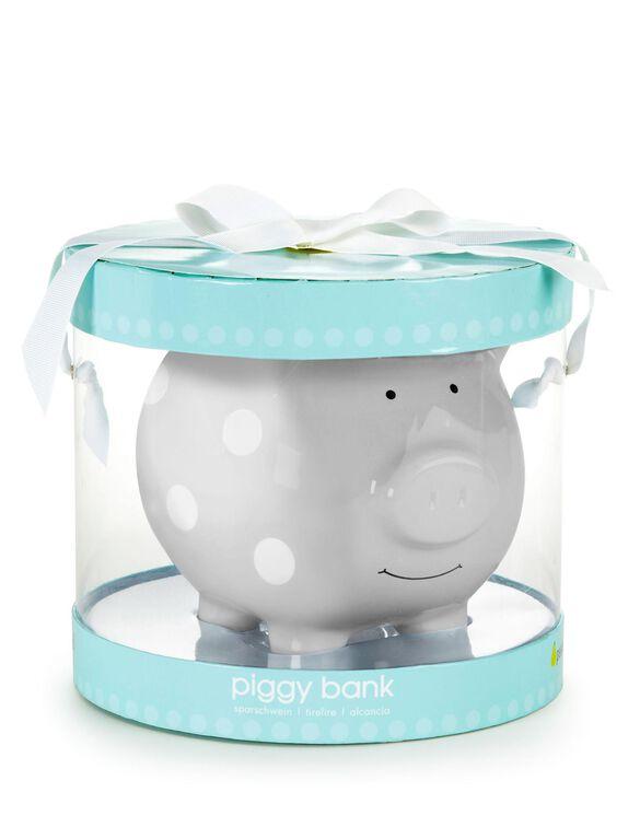Pearhead Ceramic Piggy Bank- Medium, Grey