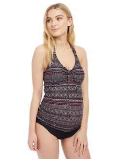 Printed Halter Maternity Swim Top, Black Multi Tribal