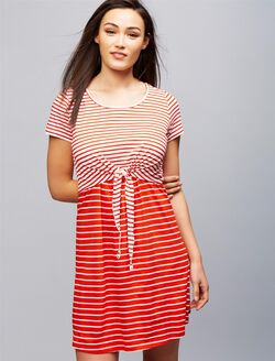 Seraphine Layered Nursing Dress, Red White Stripe