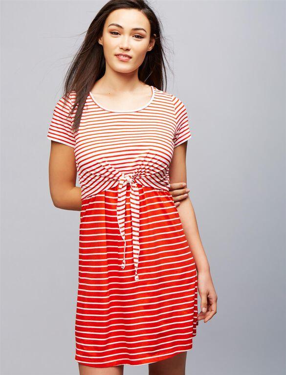 Seraphine Layered Nursing Dress, Red White Stripe