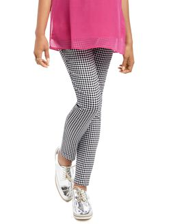 Secret Fit Belly Tech Twill Gingham Maternity Pants, B/W Gingham