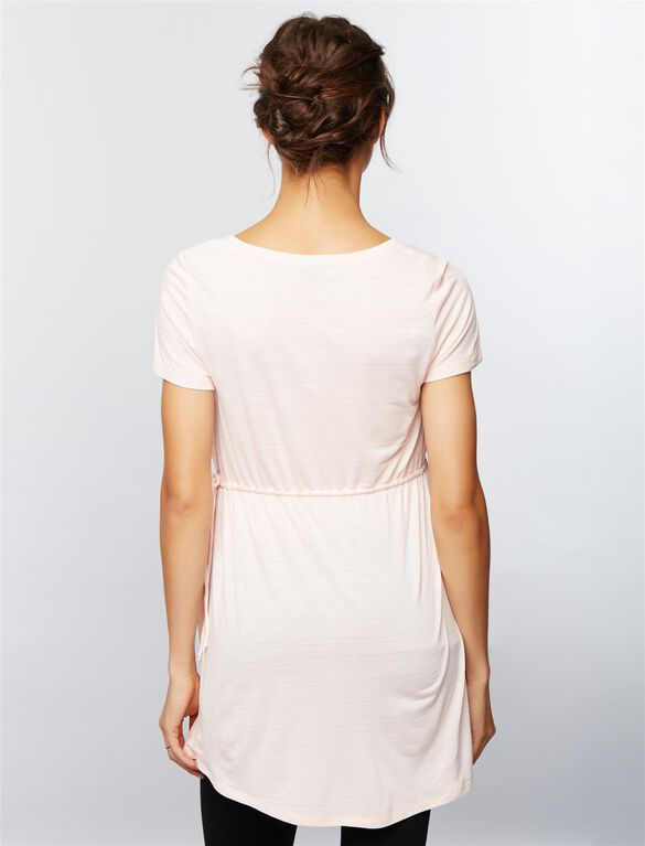 Side Tie Detail Maternity Tunic, Seashell Pink