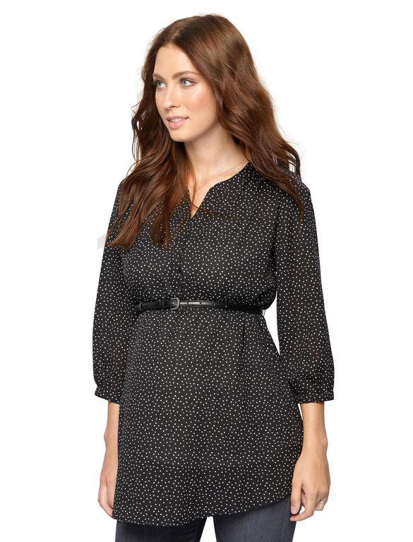 Belted Dot Print Maternity Tunic, Black Dot Print