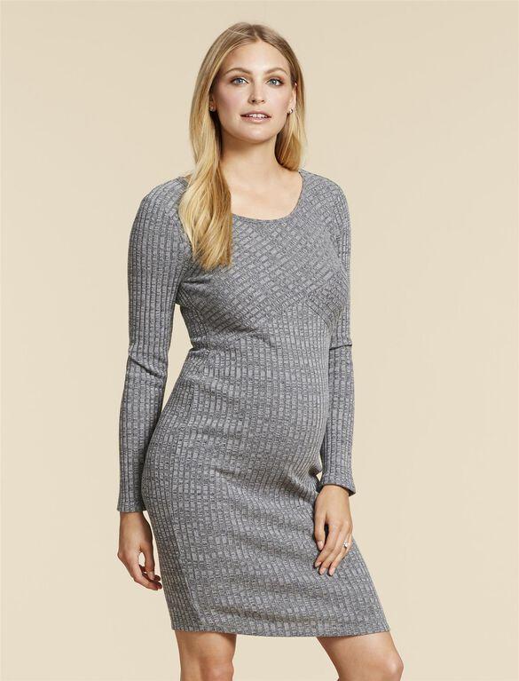 Jessica Simpson Rib Knit Maternity Dress, GREY