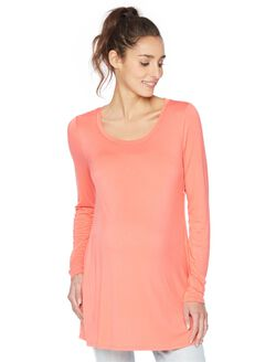 Long Sleeve Legging Maternity Tee- Solid, Sunset Orange