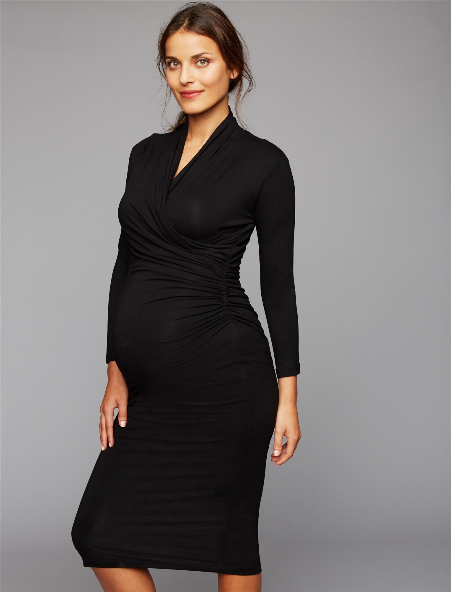 Vintage Style Maternity Clothes Isabella Oliver Balcome Maternity Dress- Black $195.00 AT vintagedancer.com