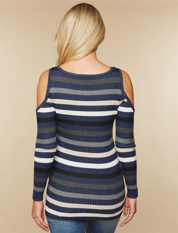 Cold Shoulder Maternity Sweater, Blue Gray Stripe