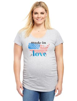 Plus Size Made In America Maternity Tee, Grey Made In America