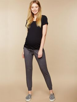 Under Belly French Terry Jogger Maternity Active Pants, Charcoal Grey