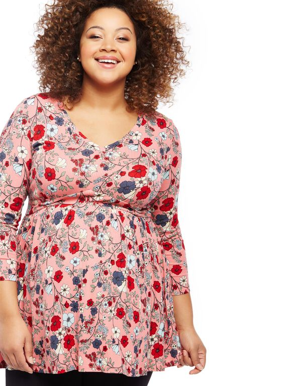 Jessica Simpson Plus Size Babydoll Maternity Tunic, Pink Floral
