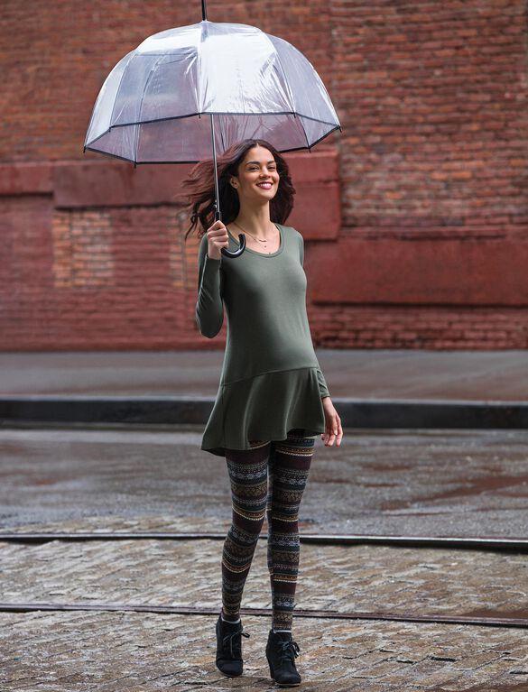 Long Sleeve Rib Knit Hem Maternity Tunic, Olive
