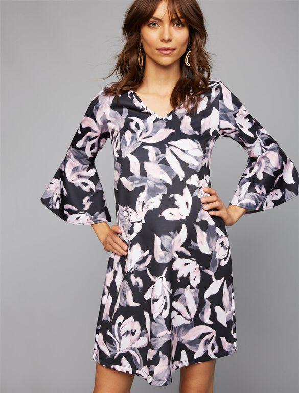 Soon Floral Bell Sleeve Maternity Dress, Scuba Print