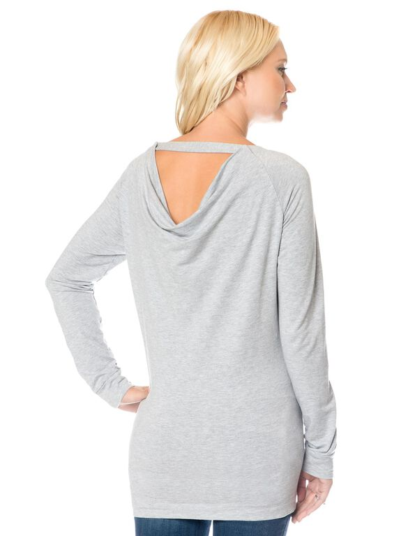 Splendid Back Interest Maternity Pull Over, Grey