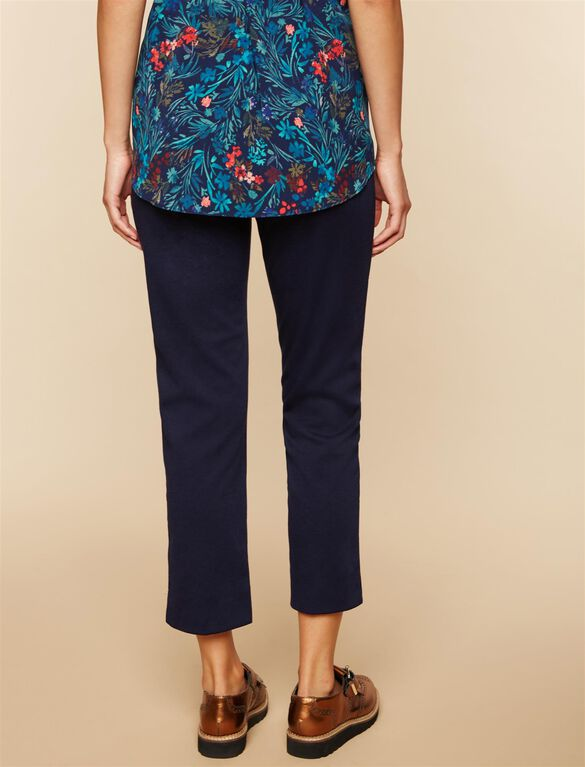 Side Panel Ponte Straight Leg Maternity Pants, Navy