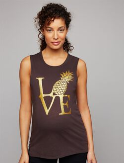 Chaser Pineapple Love Maternity Tank, Black