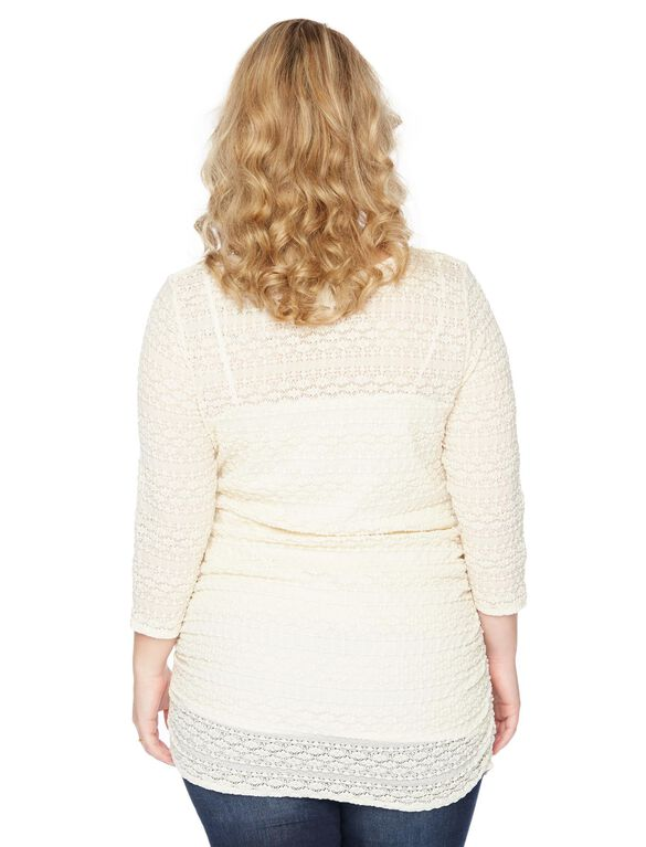 Plus Size Lace Detail Maternity Top, Cream