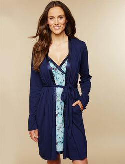 Satin Trim Maternity Nightgown And Robe Set, Navy Deer Print