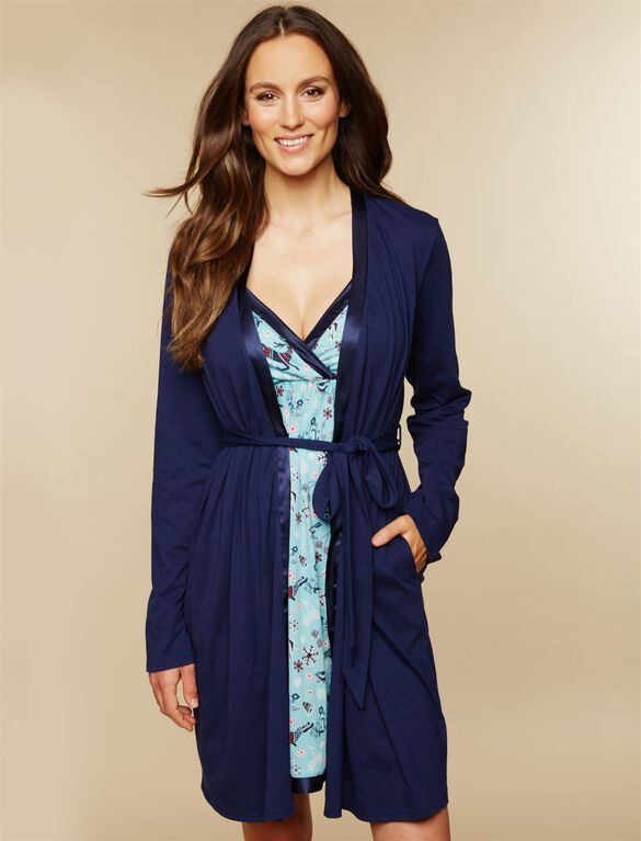 Satin Trim Maternity Nightgown And Robe Set, Navy Deer Print