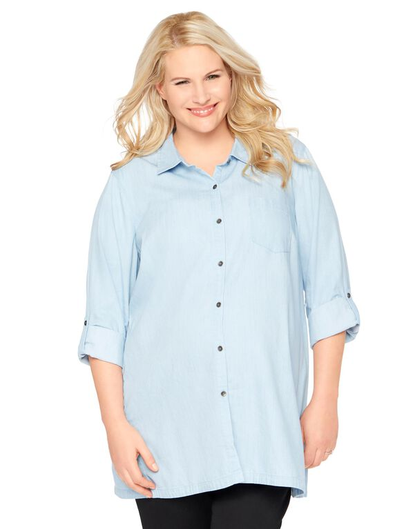 Plus Size High-low Hem Maternity Top, Chambray