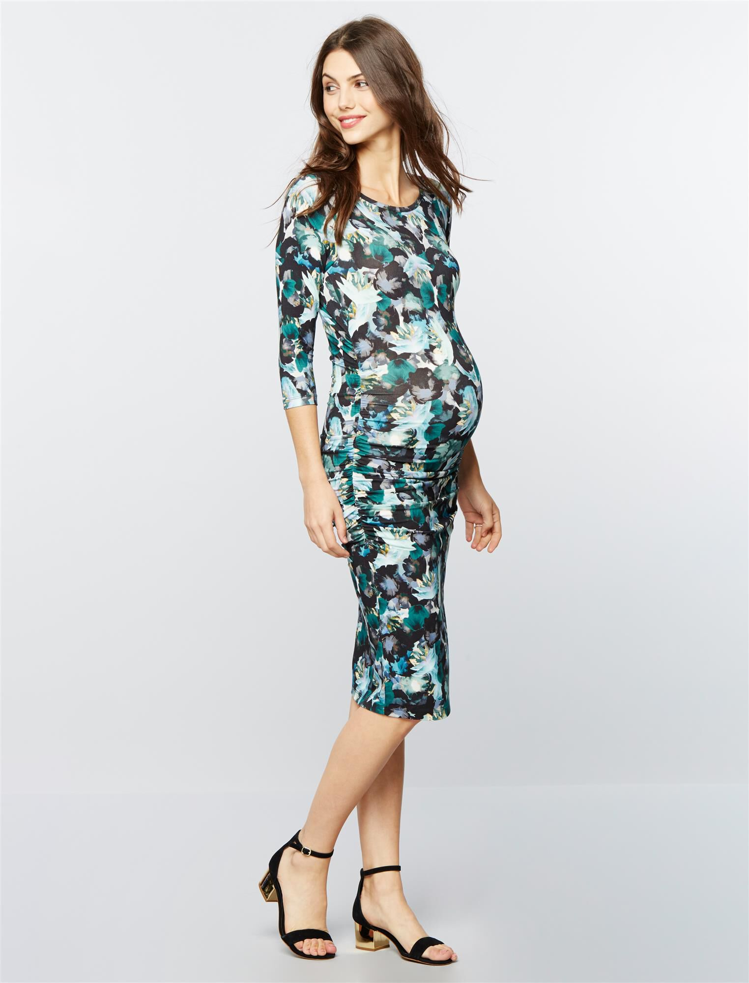 Isabella Oliver Side Ruched Maternity Shirt Dress