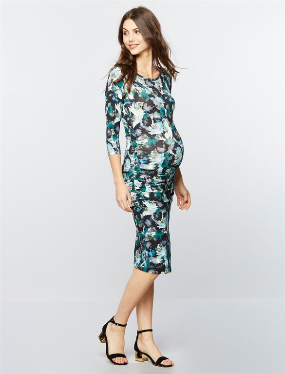 Isabella Oliver Side Ruched Maternity Shirt Dress, Green Floral Print