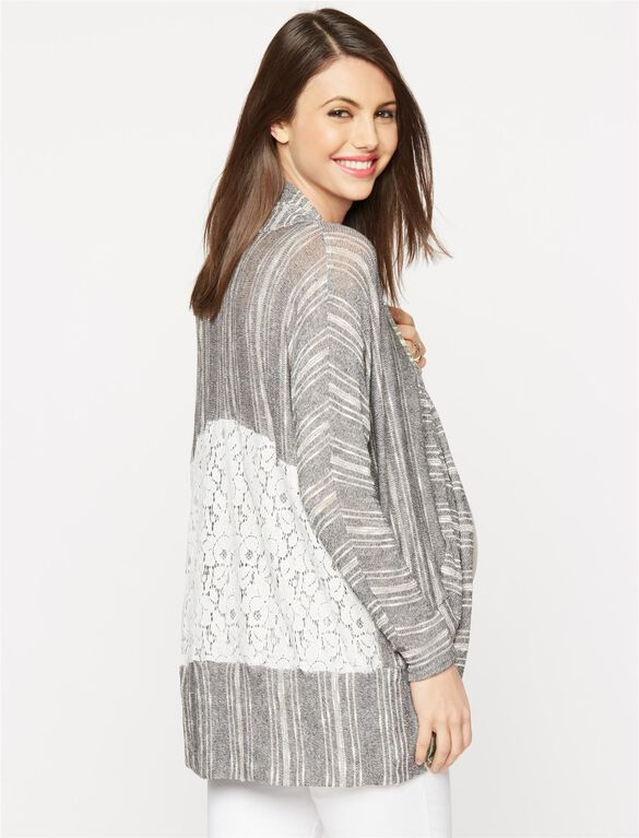 Lace Back Cocoon Maternity Cardigan, Grey/White