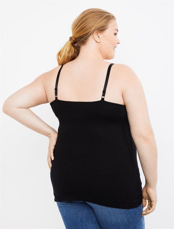 Plus Size Nursing Clip Down Cami- Black, Black