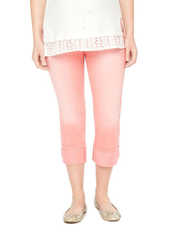 Secret Fit Belly Twill Skinny Leg Maternity Crop Pants, Sunkist Coral