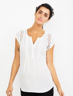 Daniel Rainn Lace Maternity Blouse, White