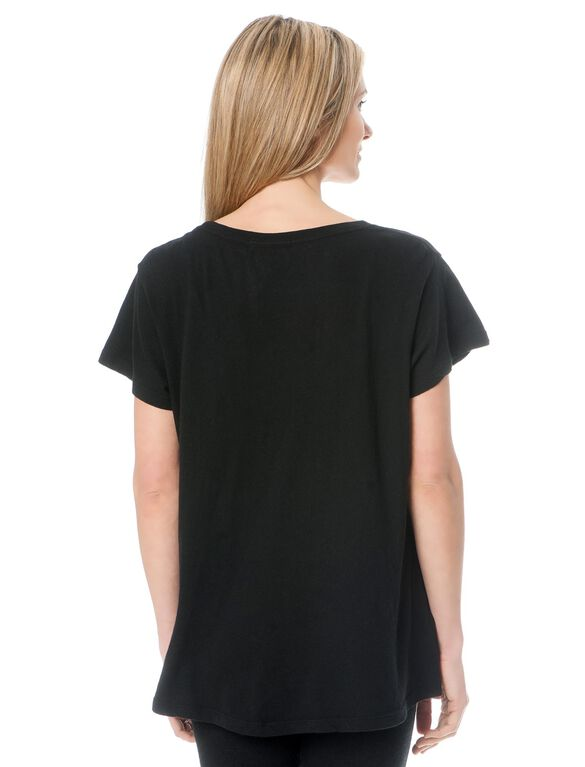 Maternity Graphic Tee, Clean Black
