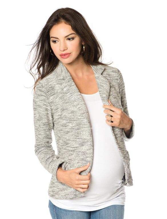 French Terry Maternity Jacket, Grey Texture