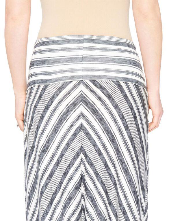 Fold Over Belly Maternity Maxi Skirt- Grey/White Stripe, Grey/White Stripe