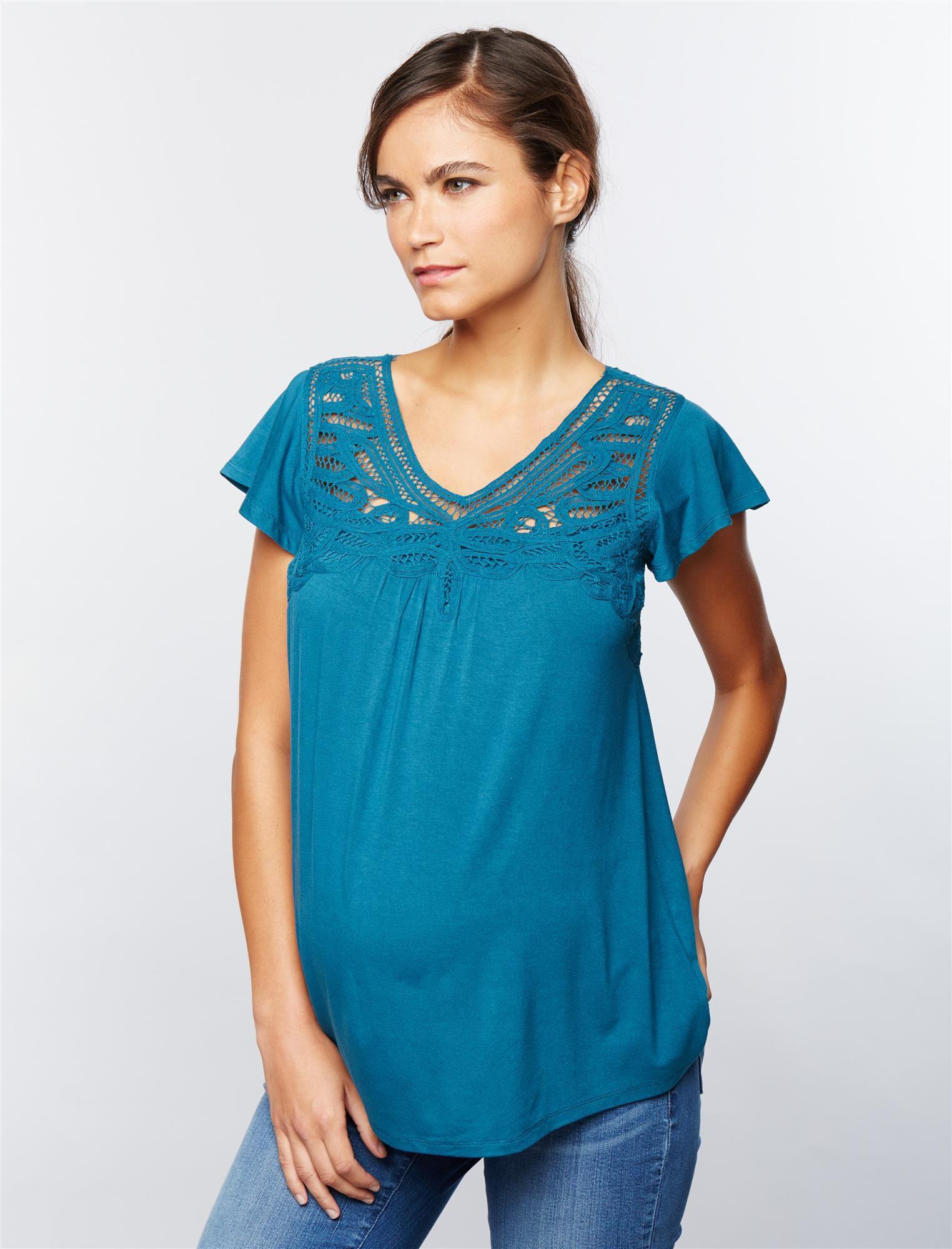 Daniel Rainn Lace Trim Maternity Shirt