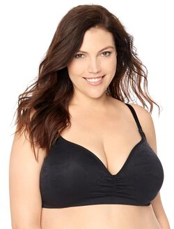 Jessica Simpson Plus Size Seamless Clip Down Nursing Bra, Black