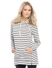Striped Relaxed Fit Maternity Hoodie- Multi Stripe, Multi Stripe