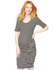 Elbow Sleeve Stripe Maternity Dress, Soft White/Black