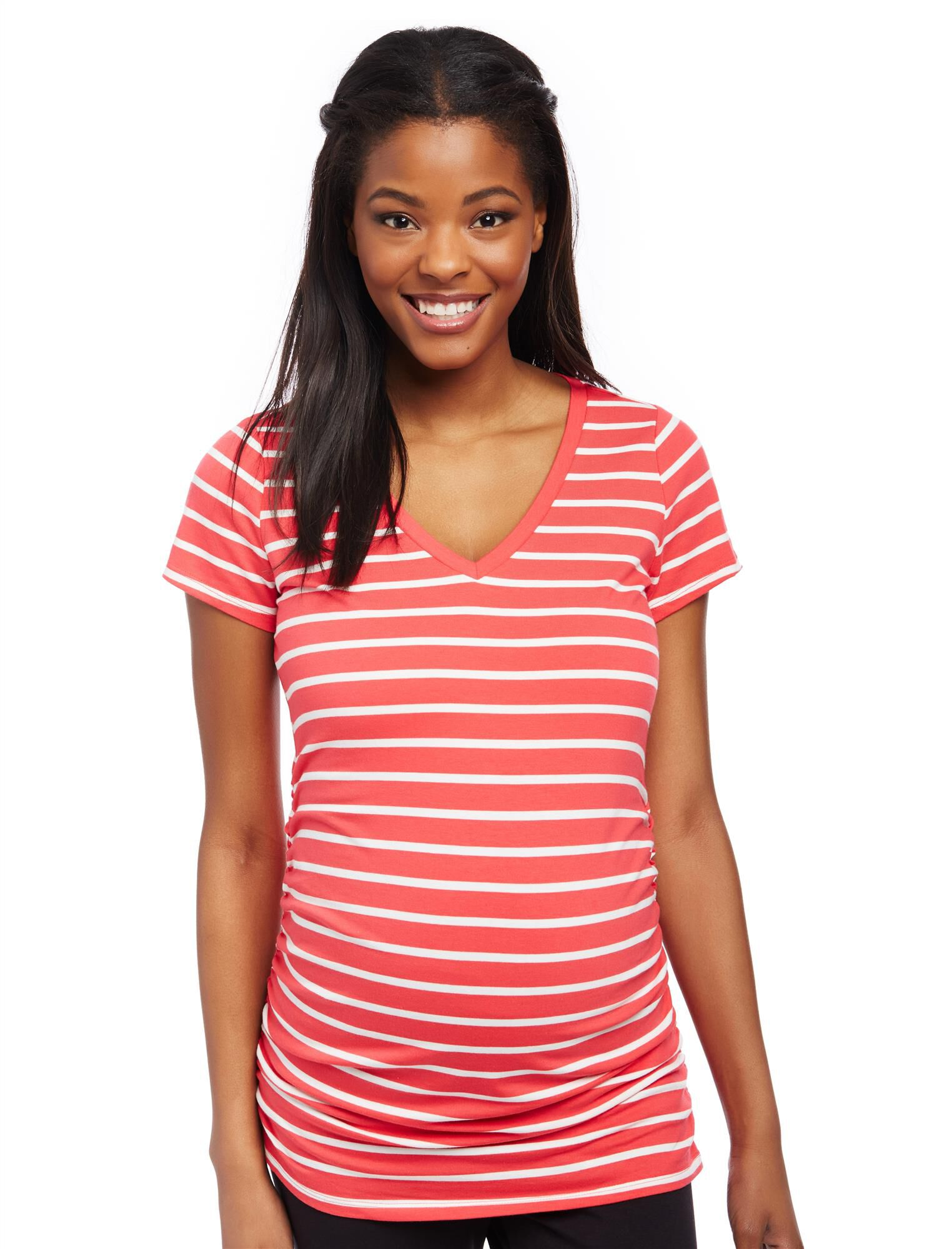 V-neck Side Ruched Maternity Tee
