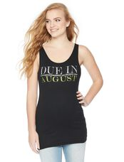 Due in August Maternity Graphic Tank Top, Peridot Glitter
