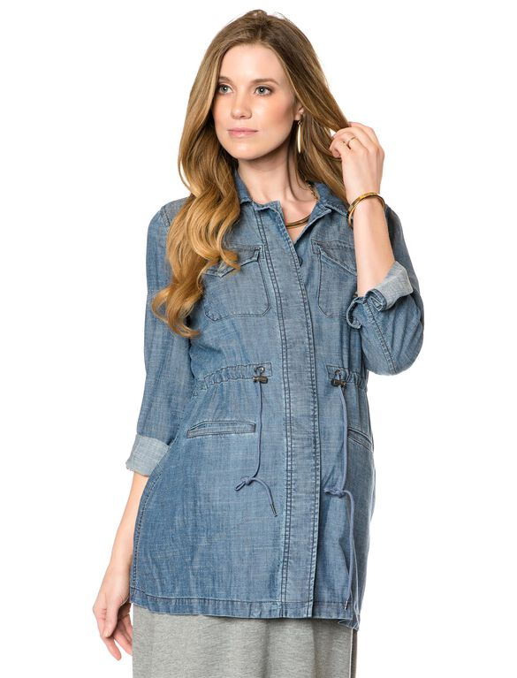 Luxe Essentials Denim Button Detail Chambray Maternity Coat, Chambray