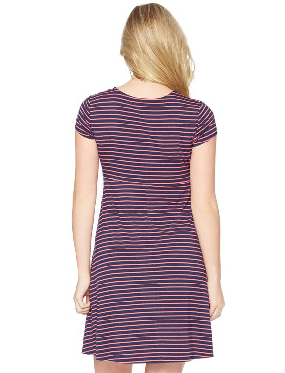 Striped Faux Wrap Maternity Dress, Navy/Pink