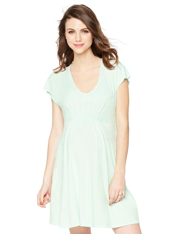Ruched Maternity Swim Cover-up, Opal Blue