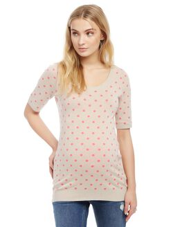 Elbow Sleeve Maternity Sweater, Oat/Pink Dot